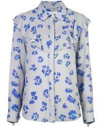 Novis - Floral Print Ruffle Shirt - Lyst