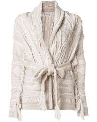 Laneus - Chunky Knit Cardi-coat - Lyst