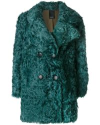 Numerootto - Double Breasted Shearling Coat - Lyst