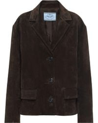 Prada - Single-breasted Suede Jacket - Lyst