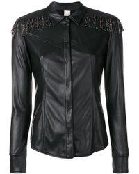 Pinko - Beaded Fringe Faux Leather Shirt - Lyst