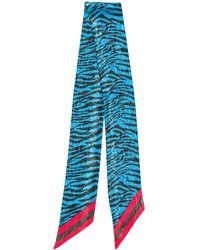 Paura Leopard-print Scarf - Blue