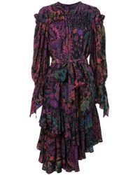 Josie Natori - Printed Ruffle Dress - Lyst