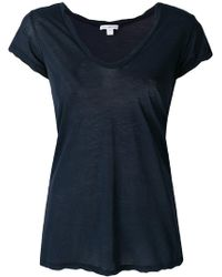 James Perse - Plunge Neck T-shirt - Lyst