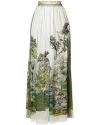 Alberta Ferretti - Long Printed Skirt - Lyst