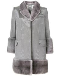 Thom Browne - Moire Vent Back Chesterfield Overcoat With Mink Fur - Lyst