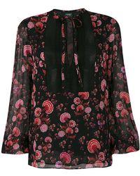 Giambattista Valli - Floral Print Tie Neck Blouse - Lyst