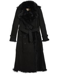 Burberry - Shearling Long Trench Coat - Lyst