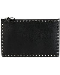 Valentino - Rockstud Grain Leather Pouch - Lyst