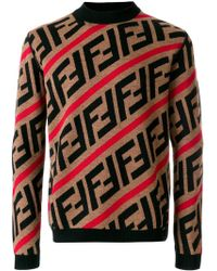 Fendi - Ff Logo Diagonal-stripe Jumper - Lyst
