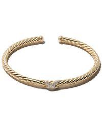David Yurman - 18kt Yellow Gold Diamond X Cable Spira Cuff Bracelet - Lyst