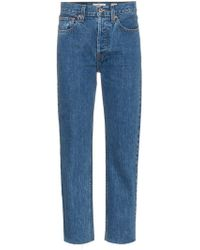 RE/DONE - Jeans crop a vita alta Stove Pipe 27' - Lyst