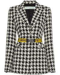 Off-White c/o Virgil Abloh - Single Breasted Houndstooth Virgin Wool Blend Blazer - Lyst