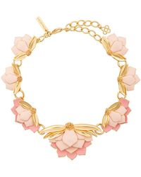 Oscar de la Renta - Enamelled Wild Lotus Necklace - Lyst