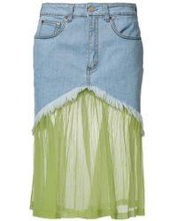 Daizy Shely - Panelled Denim Skirt - Lyst