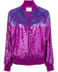 Alberta Ferretti - Sequins Embellished Bomber Jacket - Lyst