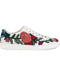 Gucci - Ace Leather Sneakers - Lyst