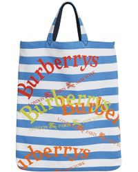 Burberry - Archive Logo Striped Shopper - Lyst