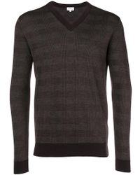 Brioni - V-neck Checked Jumper - Lyst