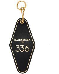 Balenciaga - Black Hotel Key Tag Keyring - Lyst