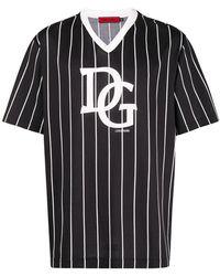 Dolce & Gabbana - Striped Logo T-shirt - Lyst