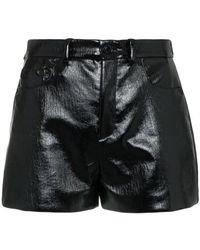 Saint Laurent - Shorts de talle medio con efecto vinilo - Lyst