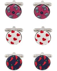 Fefe Pack Of Three Patterned Cufflinks
