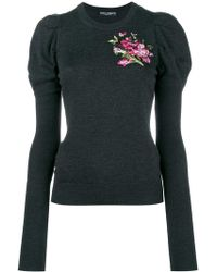 Dolce & Gabbana - Floral Embroidered Puff Sleeve Knitted Top - Lyst