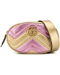 6122b751095 Lyst - Gucci Gg Marmont Quilted-leather Belt Bag in Black