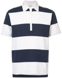 Thom Browne - Ss Polo In Rugby Stripe W/ Engineered 4-bar - Lyst