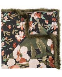 Twin Set - Faux Fur Trim Floral Scarf - Lyst