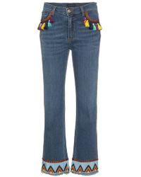 Etro - Cropped Jeans With Multicoloured Tassels And Embroidery - Lyst