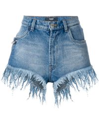 Versus - Frayed High-waisted Shorts - Lyst