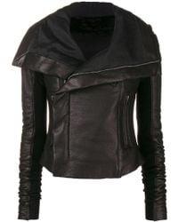 Rick Owens - Ribbed Wool-paneled Leather Biker Jacket - Lyst