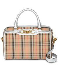 772e6336dd Burberry Medium Nova Check Bowling Bag in Black - Lyst