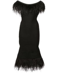 Hervé Léger - Ostrich Feather Trim Bandage Dress - Lyst