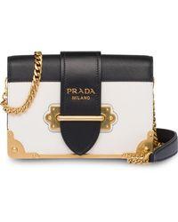 af77a4ff0da1 Prada White Raffia Cahier Shoulder Bag in White - Lyst