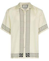 Gucci - Logo Embellished Bowling Shirt - Lyst