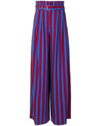 Maison Margiela - Belted Striped Crepe Wide-leg Trousers - Lyst