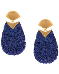 Katerina Makriyianni Fringed Oversized Earrings - Blue