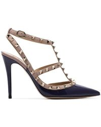 Valentino - Navy And Nude Rockstud 100 Patent Leather Pumps - Lyst