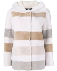 Blancha - Striped Hooded Shearling Jacket - Lyst