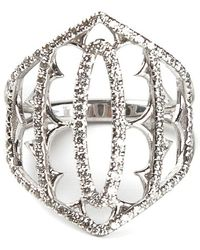 Loree Rodkin - White Gold And Grey Diamond Pavé Shield Ring - Lyst