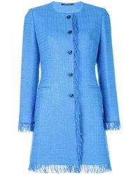 Tagliatore - Fringed Trim Tweed Coat - Lyst