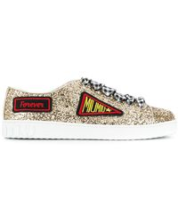 Miu Miu - Patch Embroidered Glittered Sneakers - Lyst