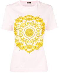 63f82b97ea03 Versace - Gold Hibiscus Print T-shirt - Lyst