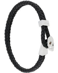 Northskull - Micro Skull Leather Braided Bracelet - Lyst