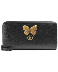 Gucci - Leather Zip Around Wallet With Butterfly - Lyst
