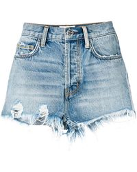 Current/Elliott - High-waisted Distressed Shorts - Lyst