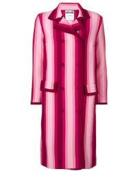 Moschino - Striped Double Breasted Coat - Lyst